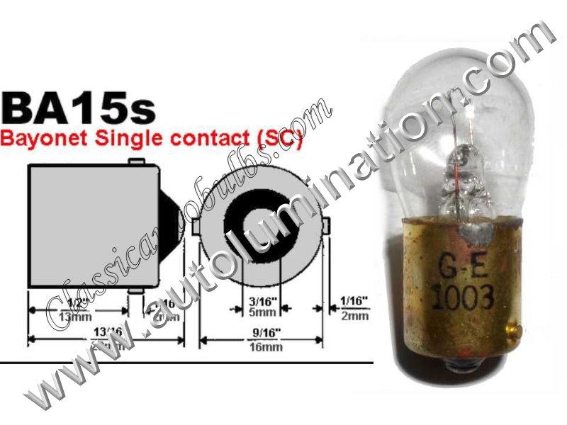 #1003, Miniature Bulb, Ba15S Base, 12.8 Volt, 0.94 Amp, 12 Watt, B6, SC Bayonet Base, 200 Hour