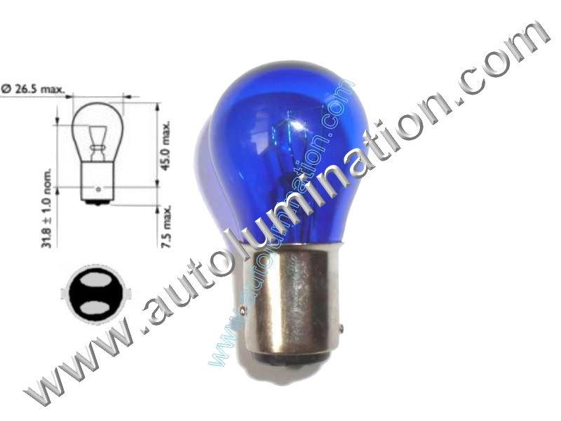 #1154, 352, 1154, 1130, 1493 888, 11A-13465, Miniature Bulb, Bay15d Base, 6.4/7.0 Volt, 2.63/0.75 Amp, 16.57/5.25 Watt, S-8, DC Index Bayonet Base,  1,000 Hour