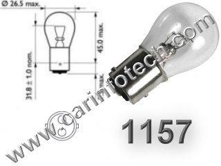 #1157, 1157 (Dual Circuit), 1016, 1034, 1076, 1077, 1130, 1158, 1493, 2057, 2357, 2397, 7528, 2F2112011 Wagner, 17916 Bay15d, Miniature Bulb Bay15d Base, 12.8/14.0 Volt, 2.1/0.59 Amp, 26.88/8.26 Watt, S8, DC Index Bayonet Base,  1,200/5,000 Hour