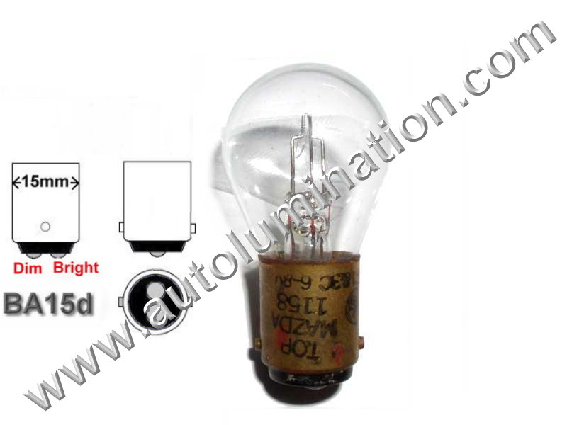 #1158 Miniature Bulb Ba15d Base, 6.4/7 Volt, 2.63/0.75 Amp, 16.57 Watt, S8, Miniature Bulb DC Bayonet Base,  200/1000 Hour