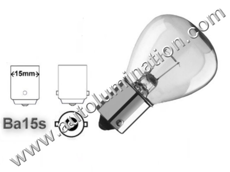#1195, 1293 SC, 1195 SC, 1143 SC 37.5 watt - 3 amp - 12.5 volt - RP11, Miniature Bulb Ba15S Base, 12.5 Volt, 3 Amp, 37.5 Watt, RP-11, SC Bayonet Base, 300 Hour