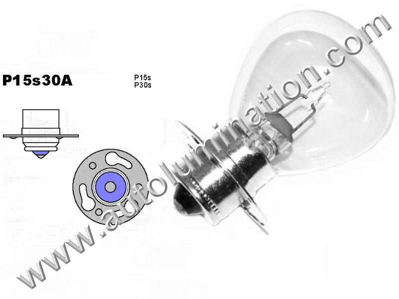 1323, 1007, 1009, 1209, 1323, 1501, 1503, 1561, Miniature Bulb P15s30 Base, 6 Volt, 4 Amp, RP-11, SC Bayonet Base, 500 Hour