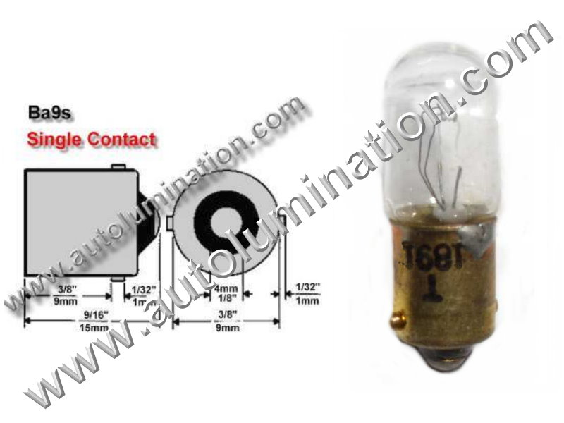 #1891, Miniature Bulb Ba9S Base, 14.0 Volt, ..2 Amp, 2. Watt, T10, Miniature Bayonet, Ba9S Base, 2.0 MSCP C-2V Filament Design, 500 Average Rated Hours, 1.06