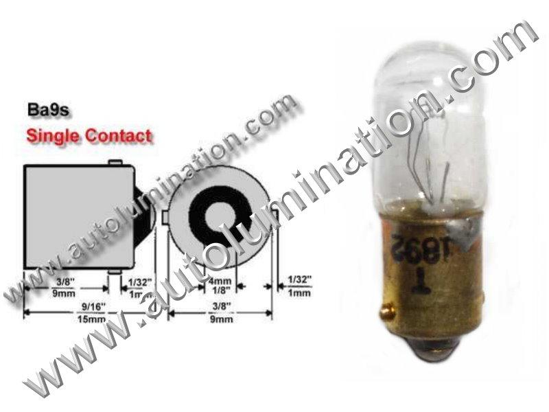 #1892, Miniature Bulb Ba9S Base, 14.0 Volt, .24 Amp, 3.36 Watt, T10, Miniature Bayonet, Ba9S Base, 2.0 MSCP C-2V Filament Design, 500 Average Rated Hours, 1.06
