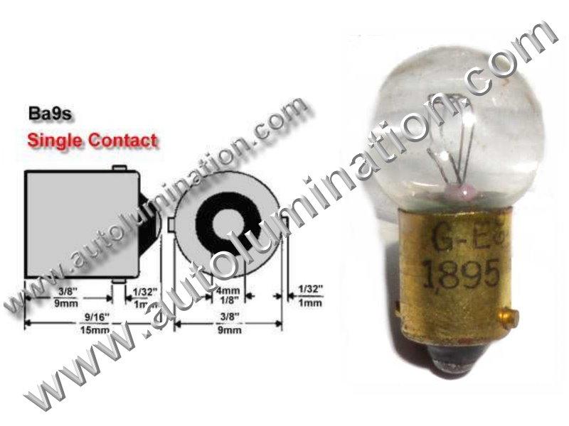 #1895, Miniature Bulb Ba9s Base, 14 Volt, .27 Amp, 3.78 Watt, G4-1/2 Miniature Bayonet, Ba9S Base, 2.0 MSCP, C-2F Filament Design, 2,000 Average Rated Hours, 1.06