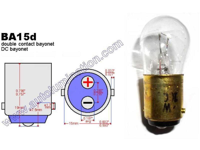#210, Miniature Bulb, Ba15d Base, 6.5 Volt, 1.78 Amp, 11.57 Watt, B6 Double Contact Bayonet, BA15d Base, 15.0 MSCP, C-6, Filament Design, 100 Average Rated Hours, 1.75