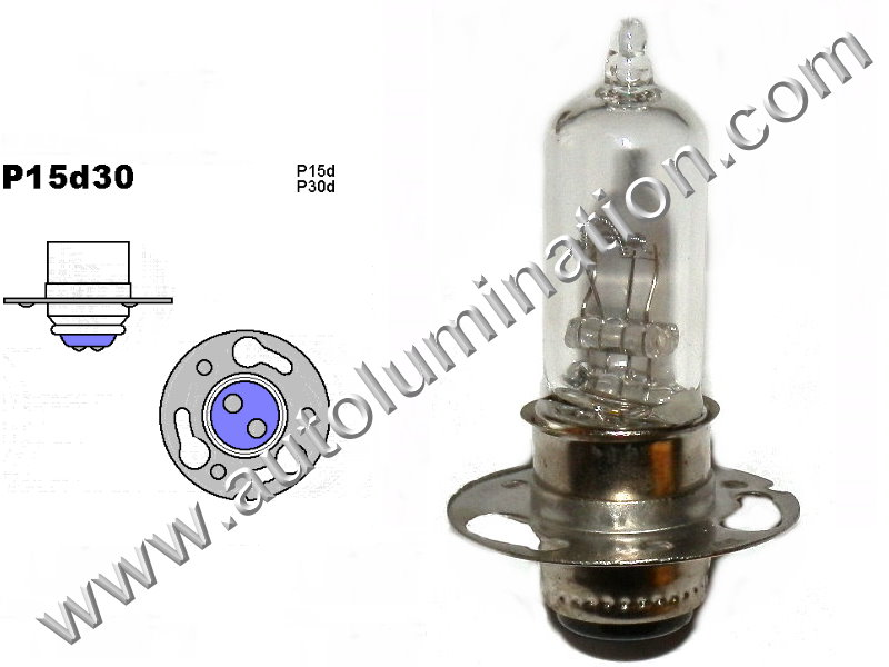 #3010 Miniature Bulb P15d30 Base, 6 Volt, 2.5/1.75 Amp, T15 Halogen, DC Bayonet Base, 500 Hour