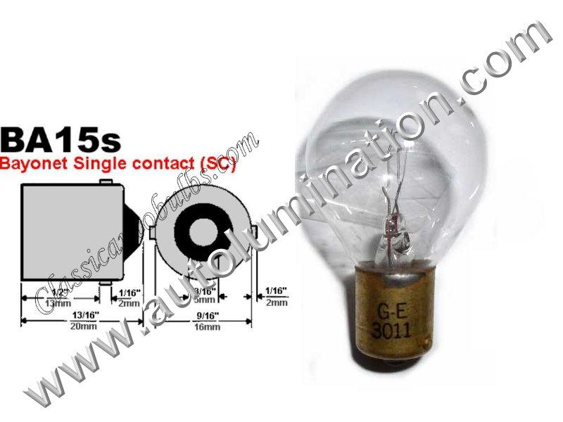 #3011 Miniature Bulb, BA15s Base, 28 Volt, 1.29 Amp, 36 Watt, Clear, S-11, Single Contact (BA15s) Base, 44.0 MSCP, C-2V Filament Design, 2.38