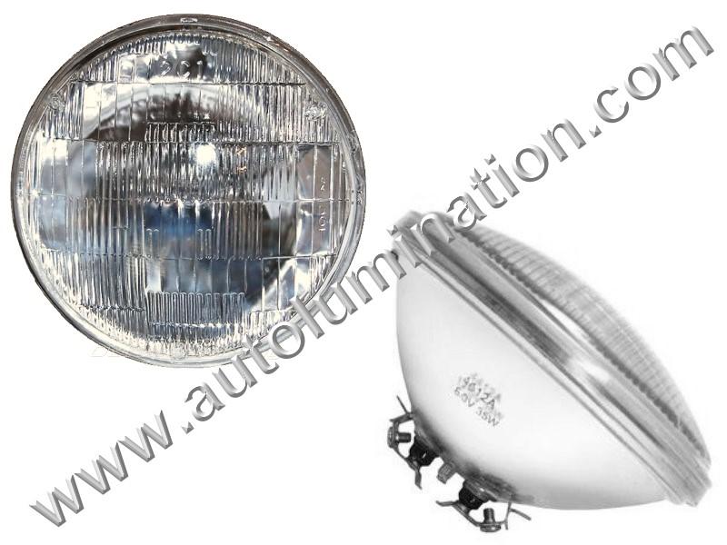 Sealed Beam, PAR 46, 4012. 4012PR. H4012, Headlight, Head Light Bulb, Glass Halogen, 6 Volt, 5-3/4 Inch Round, 5.75