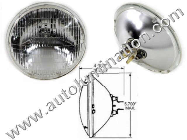 Sealed Beam, PAR 46, 4020. 4020PR. H4020, Headlight, Head Light Bulb, Glass Halogen, 6 Volt, 5-3/4 Inch Round, 5.75