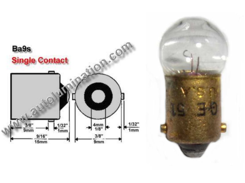#51, Miniature Bulb, Ba9S Base, 7.5 Volt, 0.22 Amp, 1.65 Watt, G3-1/2, Miniature Bayonet (BA9S) Base, C-2R Filament Design, 1.0 MSCP, 0.94