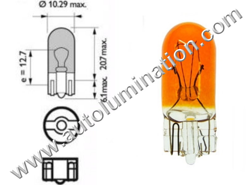 #555, 555,147, 259, 285, 447, T10, T3-1/4, Miniature Bulb Glass Wedge Base, 6.3 Volt, .25 Amp, 1.575 Watt, T3-1/4, Glass Wedge Base, Miniature Bulb, 0.9 MSCP, C-2R Filament Design, 3,000 Average Rated Hours, 1.06