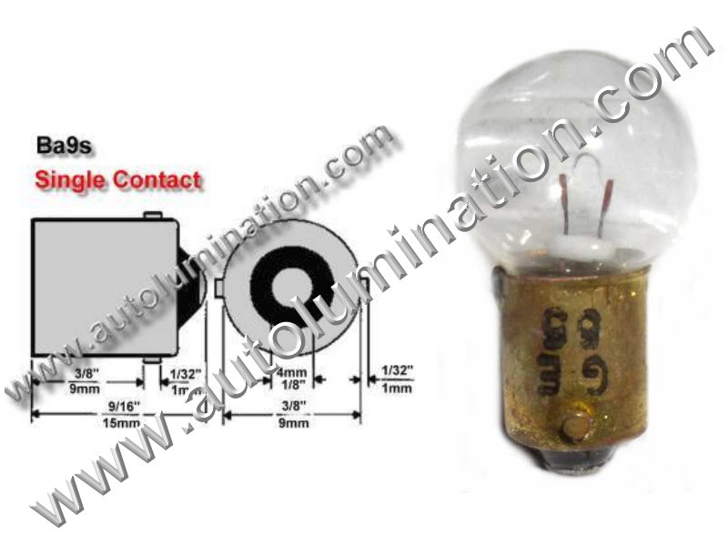 #55, Miniature Bulb Ba9s Base, 7.0 Volt,.41 Amp, 2.87 Watt, G4-1/2, Miniature Bayonet, Ba9S Base, 2.0 MSCP, C-2R Filament Design, 500 Average Rated Hours, 1.06