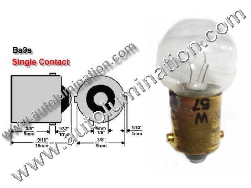 #57, Miniature Bulb Ba9S Base, 14.0 Volt, .24 Amp, 3.36 Watt, G4-1/2, Miniature Bayonet, Ba9S Base, 2.0 MSCP C-2V Filament Design, 500 Average Rated Hours, 1.06