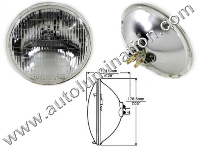 Sealed Beam, PAR 56, 6006. 6006PR. H6006, Headlight, Head Light Bulb, Glass Halogen, 6 Volt, 7 Inch Round, 7