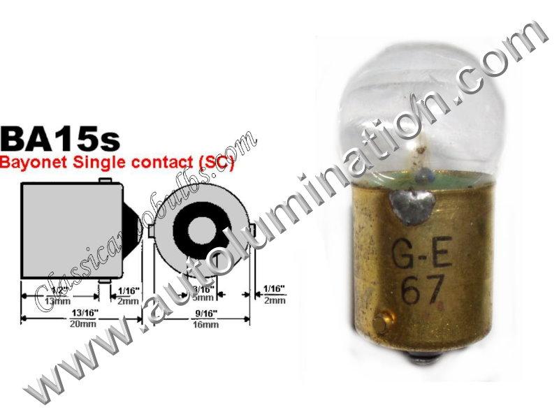 #67 MINIATURE BULB BA15S BASE, G6, G18, G18.5, 6.5 Volt, .5 Amp, G-6, Single Contact (SC) Bayonet (BA15S) Base, C-6 Filament Design, 6.0 MSCP, 1.44