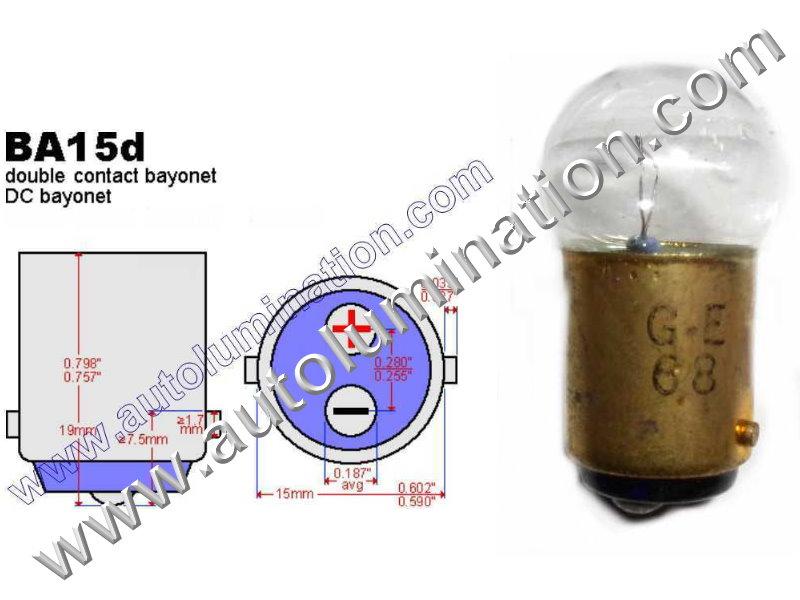 #68 MINIATURE BULB Ba15d BASE, G6, G18, G18.5, 6.5 Volt, .5 Amp, G-6, Single Contact (SC) Bayonet (Ba15d) Base, C-6 Filament Design, 6.0 MSCP, 1.44