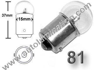 #81 MINIATURE BULB BA15S BASE, G6, G18, G18.5, 6.5 Volt, 1.02 Amp, G-6, Single Contact (SC) Bayonet (BA15S) Base, C-6 Filament Design, 6.0 MSCP, 1.44