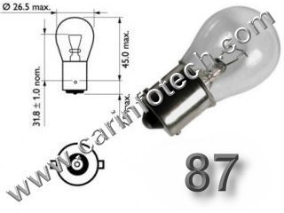 #87, 87, 1129, 1619, 1680, MINIATURE BULB BA15S BASE - 6.8 Volt 1.91 Amp S8 Single Contact Bayonet (Ba15S) Base, 15.0 MSCP C-6 Filament Design. 300 Average Rated Hours, 2.0