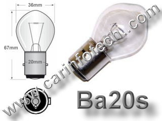 #A7278, A7278, Ba20s,P20s, 7309, 12227,  Miniature Bulb Ba20 Base, 6 Volt, 2.5/1.75 Amp, S11 Halogen, DC Bayonet Base, 500 Hour