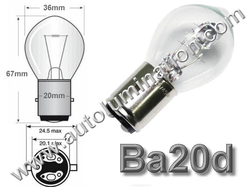 #A7379, 6245B, Ba20d, P20d, Miniature Bulb Ba20d Base, 12 Volt, 3.5 Amp, S11 Halogen, DC Bayonet Base, 500 Hour