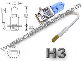 #H3, Headlight, Head Light Bulb, Glass Halogen, 6.3 Volt, .9 Amp, 55 Watt, PK22s, Glass Halogen Base