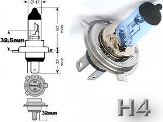 #H4, Headlight, Head Light Bulb, Glass Halogen, 6.3 Volt, .9 Amp, 55 Watt, P14.5s, Glass Halogen Base